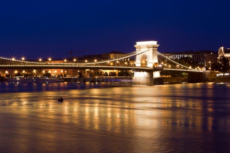 Orizzonte di Budapest, riflesso sul ponticello del fiume. fotografia stock libera da diritti