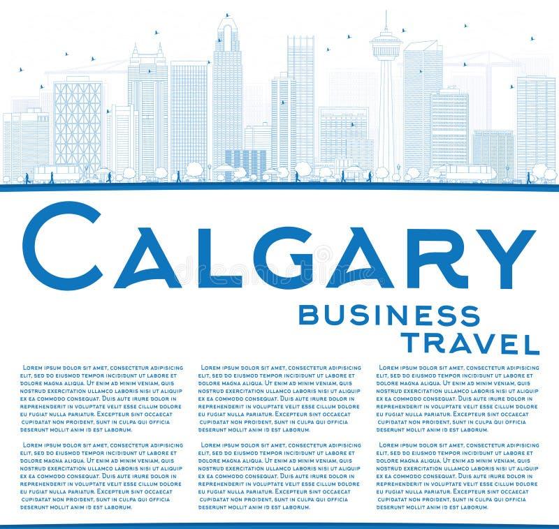 Orizzonte di Calgary del profilo con le costruzioni e lo spazio blu della copia royalty illustrazione gratis