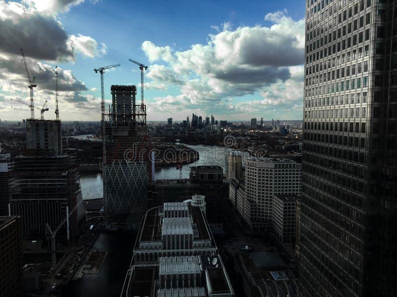 Orizzonte di Canary Wharf, Londra fotografia stock