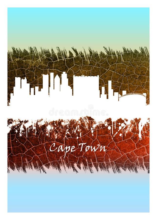 Orizzonte di Cape Town blu e bianco royalty illustrazione gratis