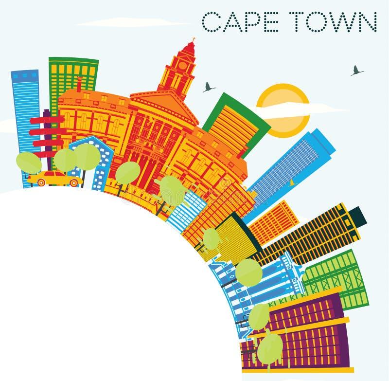 Orizzonte di Cape Town con le costruzioni di colore, il cielo blu e lo spazio della copia illustrazione vettoriale