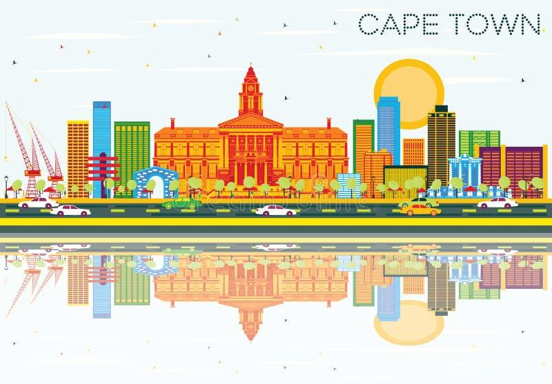 Orizzonte di Cape Town con le costruzioni, il cielo blu e le riflessioni di colore illustrazione di stock
