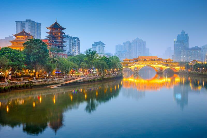 Orizzonte di Chengdu immagine stock