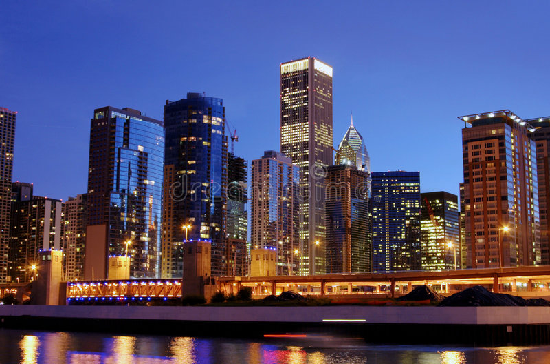 Orizzonte di Chicago fotografie stock