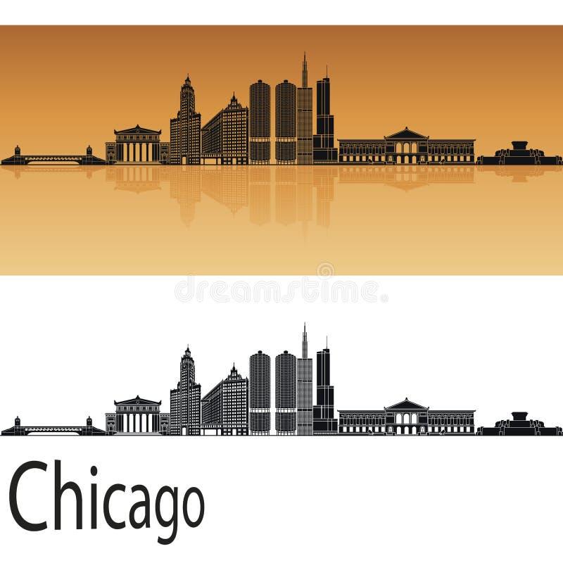 Orizzonte di Chicago in arancia illustrazione di stock