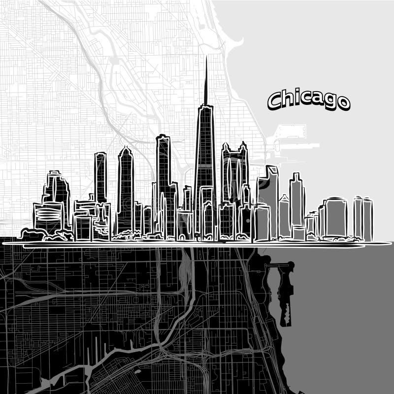 Orizzonte di Chicago con la mappa illustrazione di stock