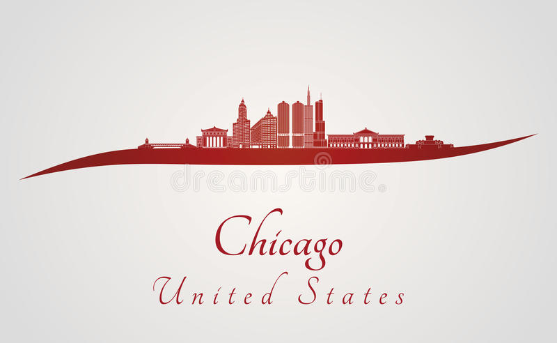 Orizzonte di Chicago nel rosso illustrazione di stock
