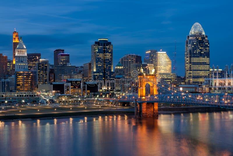 Orizzonte di Cincinnati, ponte di Roebling, Ohio fotografia stock