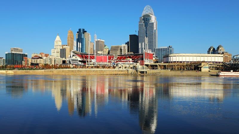 Orizzonte di Cincinnati di vista con le riflessioni del fiume Ohio fotografie stock libere da diritti