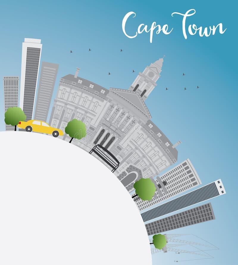 Orizzonte di Città del Capo con lo spazio grigio delle costruzioni, del cielo blu e della copia royalty illustrazione gratis
