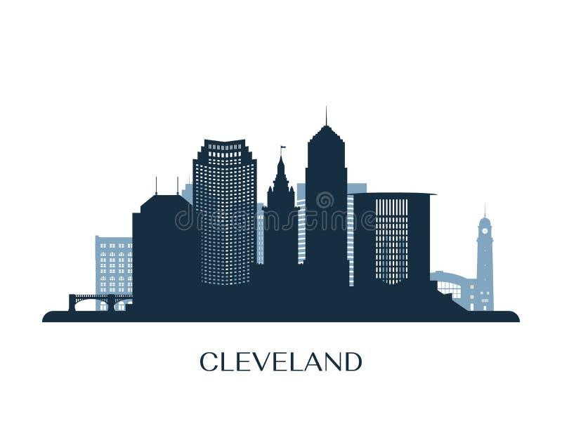 Orizzonte di Cleveland, siluetta monocromatica illustrazione vettoriale
