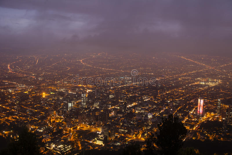 Orizzonte di crepuscolo di Bogota immagine stock libera da diritti