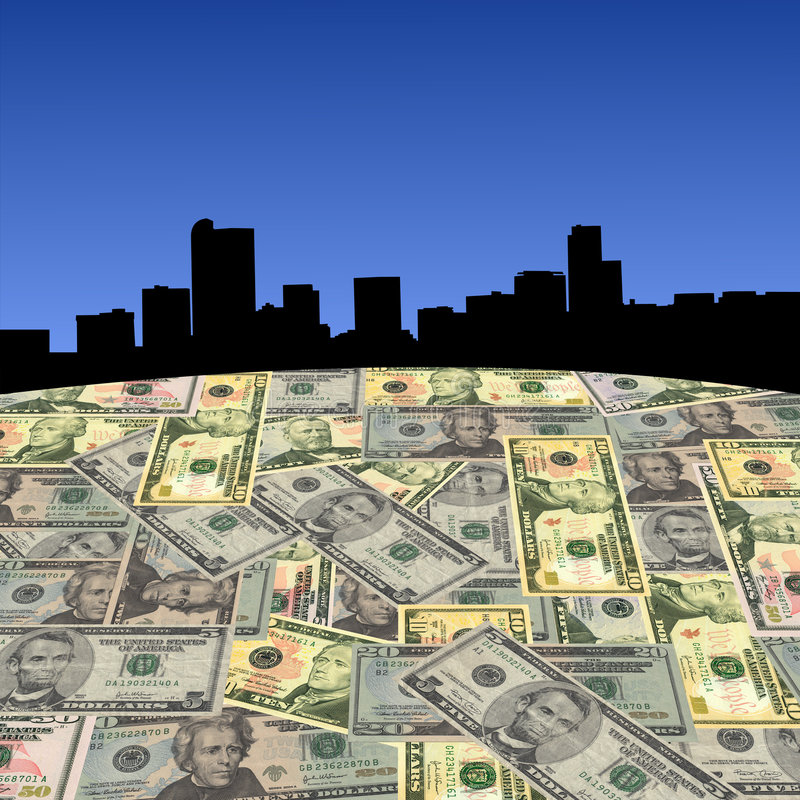 Orizzonte di Denver con i dollari illustrazione di stock