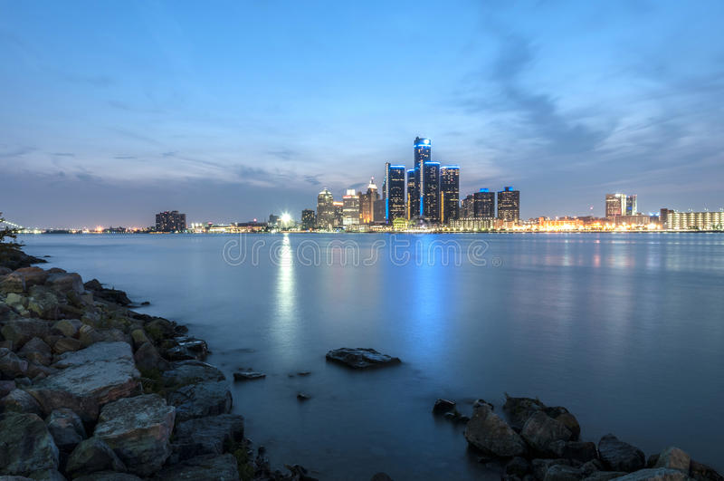 Orizzonte di Detroit fotografia stock