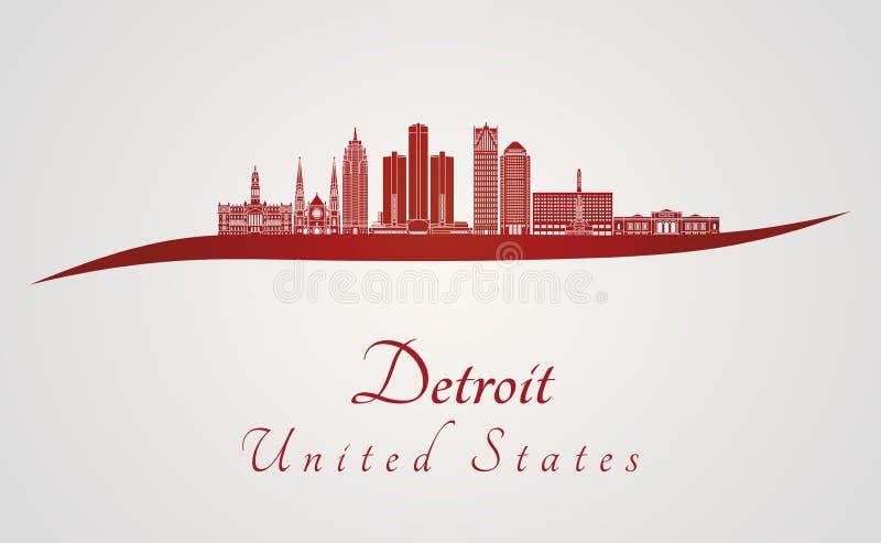 Orizzonte di Detroit nel rosso illustrazione di stock