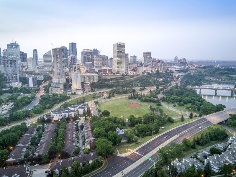 Orizzonte di Edmonton del centro, Alberta, Canada fotografia stock libera da diritti