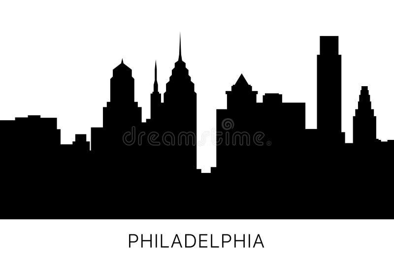 Orizzonte di Filadelfia e siluetta dei punti di riferimento U.S.A., Pensilvania Progettazione in bianco e nero isolata Illustrazi illustrazione di stock