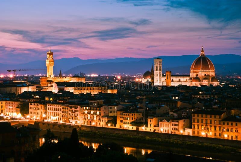 Orizzonte di Firenze al tramonto immagine stock libera da diritti