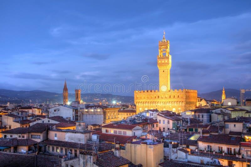 Orizzonte di Firenze - Palazzo Vecchio, Italia immagine stock libera da diritti