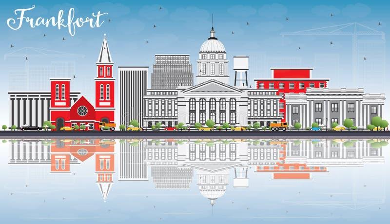Orizzonte di frankfurter con Gray Buildings, cielo blu e le riflessioni illustrazione di stock