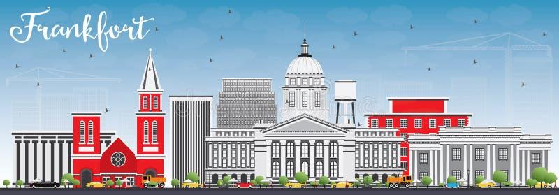 Orizzonte di frankfurter con Gray Buildings e cielo blu illustrazione di stock