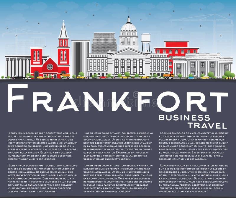 Orizzonte di frankfurter con lo spazio di Gray Buildings, del cielo blu e della copia illustrazione vettoriale