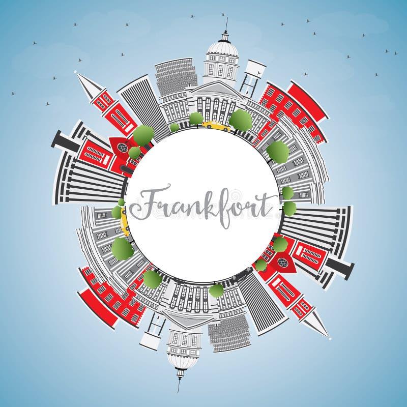 Orizzonte di frankfurter con lo spazio di Gray Buildings, del cielo blu e della copia illustrazione di stock