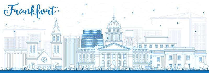 Orizzonte di frankfurter del profilo con le costruzioni blu royalty illustrazione gratis