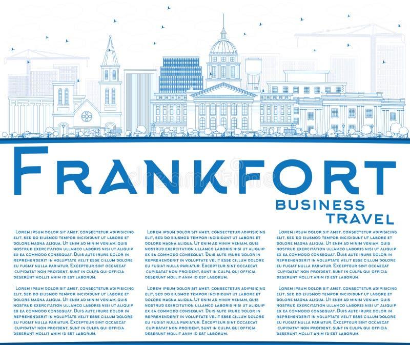 Orizzonte di frankfurter del profilo con le costruzioni e lo spazio blu della copia illustrazione di stock