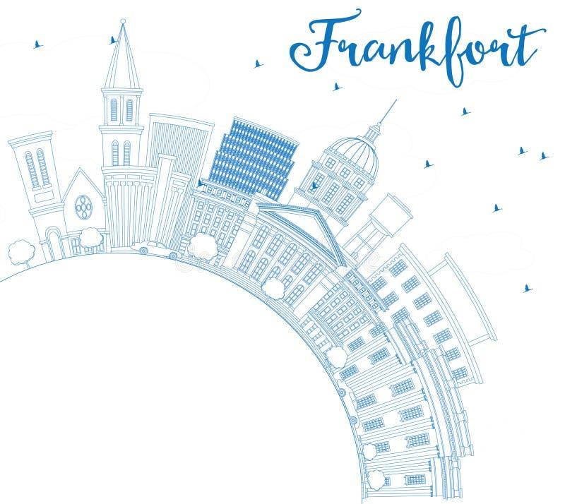 Orizzonte di frankfurter del profilo con le costruzioni e lo spazio blu della copia royalty illustrazione gratis