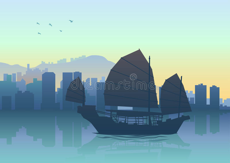 Orizzonte di Hong Kong royalty illustrazione gratis