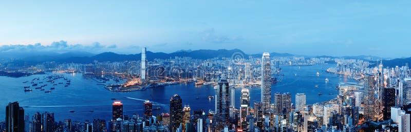 Orizzonte di Hong Kong alla notte fotografia stock