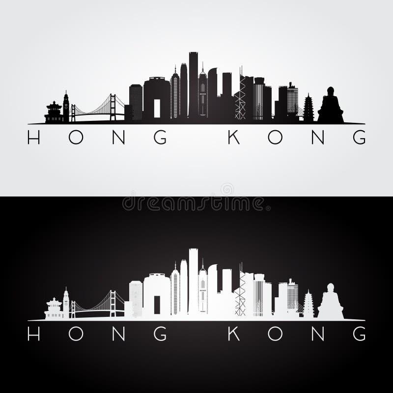 Orizzonte di Hong Kong e siluetta dei punti di riferimento royalty illustrazione gratis