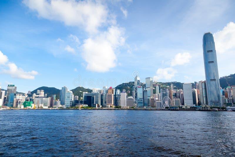 Orizzonte di Hong Kong a Victoria Harbor immagini stock libere da diritti