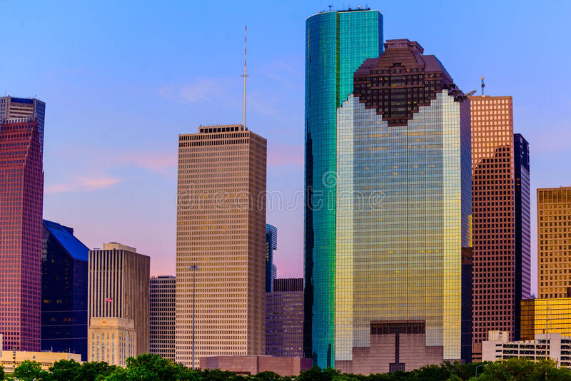 Orizzonte di Houston al tramonto immagine stock libera da diritti