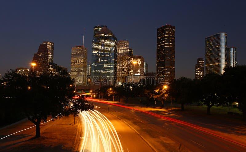 Orizzonte di Houston alla notte fotografie stock