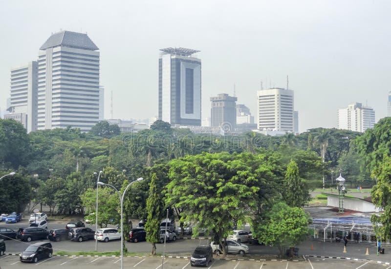Orizzonte di Jakarta in Java fotografia stock