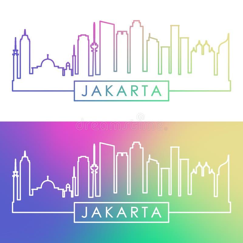 Orizzonte di Jakarta Stile lineare variopinto illustrazione vettoriale