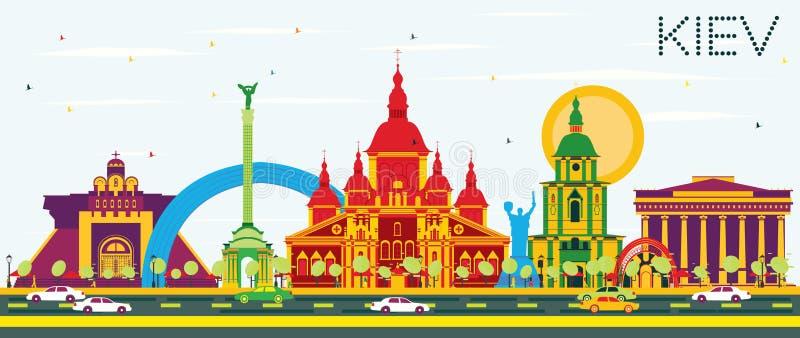 Orizzonte di Kiev con le costruzioni ed il cielo blu di colore illustrazione di stock
