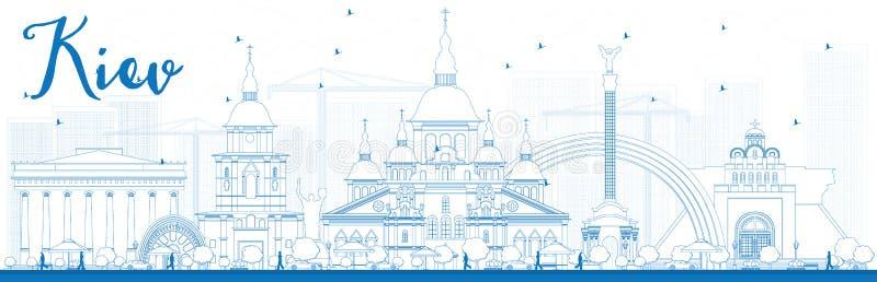 Orizzonte di Kiev del profilo con i punti di riferimento blu royalty illustrazione gratis