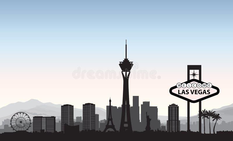 Orizzonte di Las Vegas Fondo americano del punto di riferimento della città di viaggio Urb royalty illustrazione gratis
