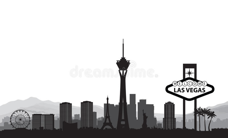 Orizzonte di Las Vegas Fondo americano del punto di riferimento della città di viaggio royalty illustrazione gratis