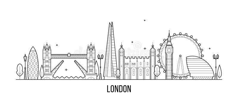 Orizzonte di Londra, Inghilterra, vettore BRITANNICO delle costruzioni della città illustrazione di stock
