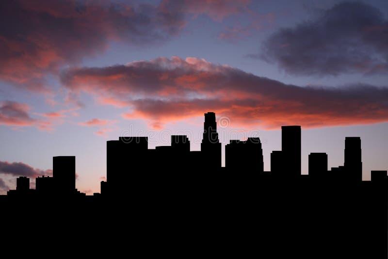 Orizzonte di Los Angeles al tramonto illustrazione di stock