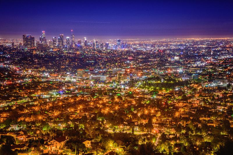 Orizzonte di Los Angeles dall'osservatorio del Griffith immagine stock libera da diritti