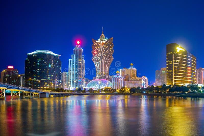 Orizzonte di Macao dal mare immagine stock