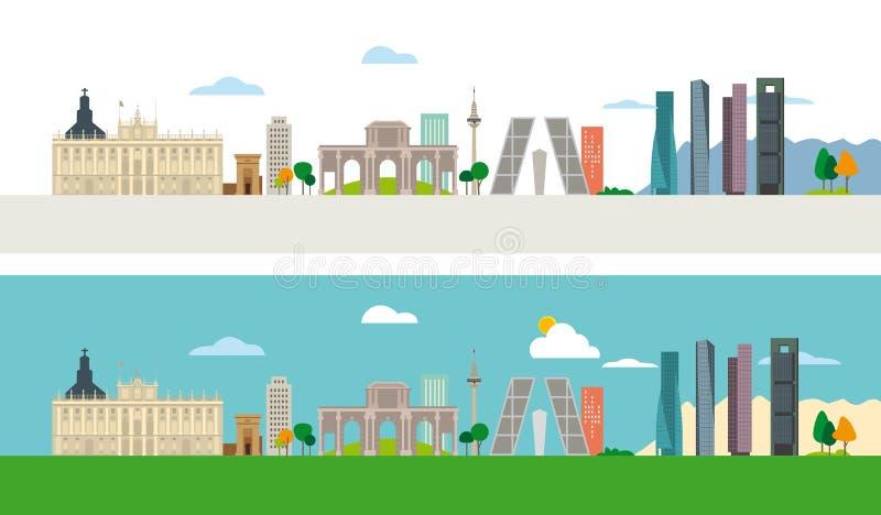 Orizzonte di Madrid illustrazione vettoriale