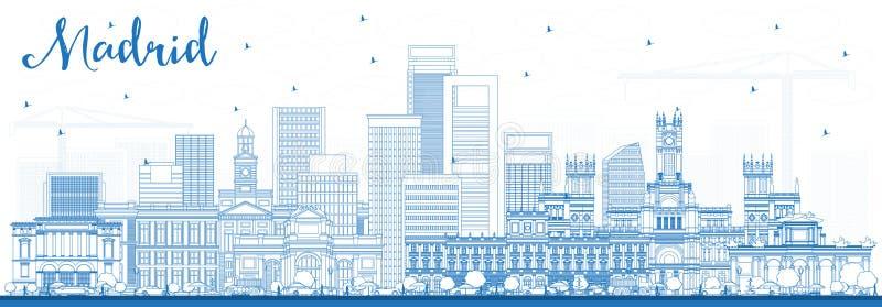 Orizzonte di Madrid Spagna del profilo con le costruzioni blu royalty illustrazione gratis