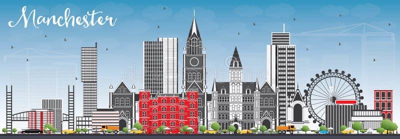 Orizzonte di Manchester con Gray Buildings e cielo blu illustrazione vettoriale