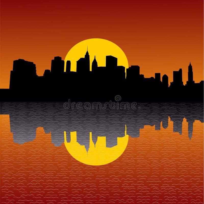 Orizzonte di Manhattan al tramonto illustrazione di stock